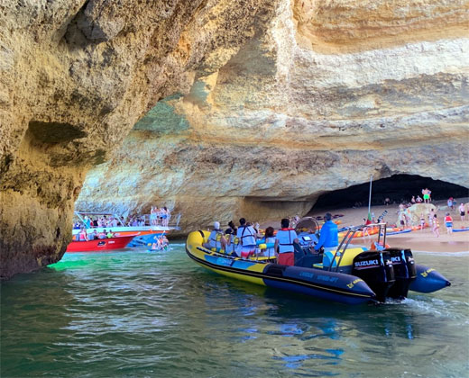 Crowded Benagil Cave